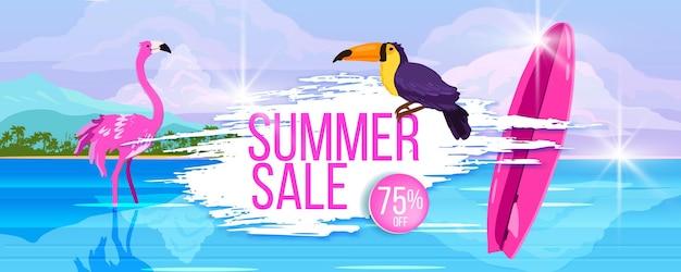 Bannière de vente d'été remise chaude ocean plage tropicale toucan planche de surf flamant rose