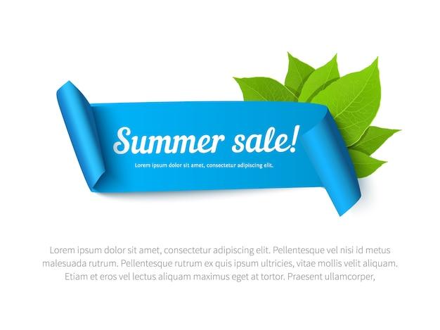 Bannière de vente d'été avec ruban et feuilles. fond de vecteur pour affiche, flyer, carte, carte postale, couverture, brochure