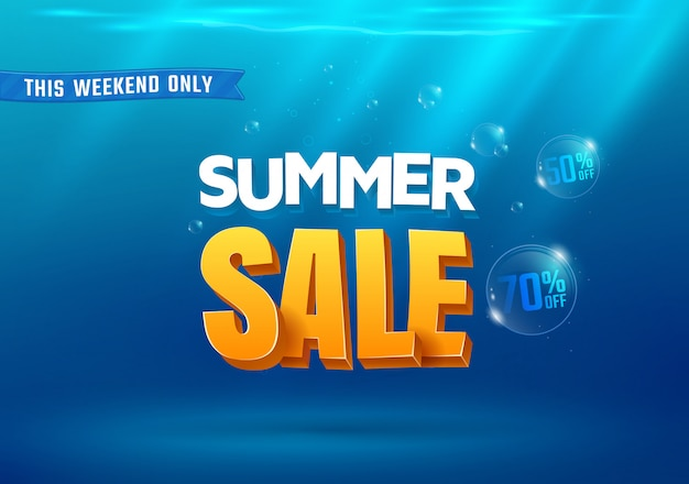 Bannière de vente d'été sous l'eau