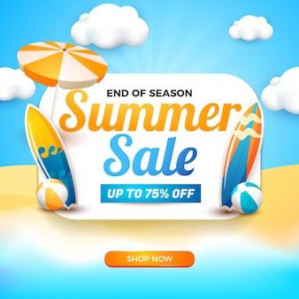 Bannière de vente d'été avec tableau blanc et élément de dessin animé 3d