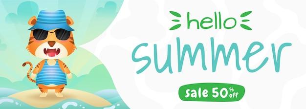 Bannière de vente d'été avec un tigre mignon utilisant un costume d'été