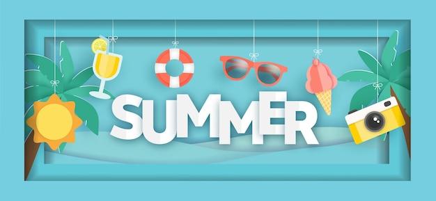 Bannière de vente d'été tropical avec des éléments d'été en style papier découpé