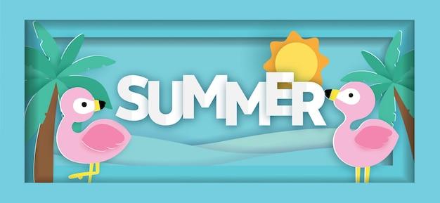 Bannière de vente d'été tropical avec flamant rose en style papier découpé