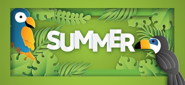Bannière de vente d'été tropical avec oiseau dans un style papier découpé