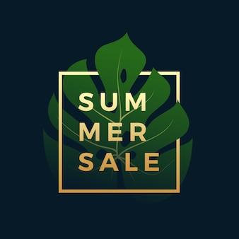 Bannière de vente d'été tropicale
