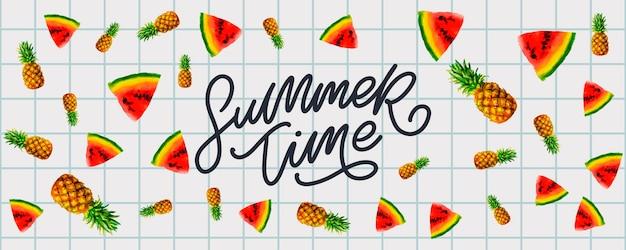 Bannière de vente d'été avec vecteur de lettre ananas pastèque fruits