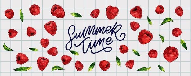 Bannière de vente d'été avec le vecteur de lettre de baies de framboise de fruits