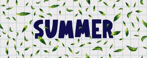 Bannière de vente d'été avec vecteur de lettre de feuilles