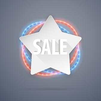 Bannière de vente d'étoiles avec décorations au néon