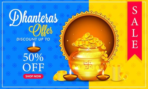Bannière de vente de festival indien créatif, pot d'or avec des dhanteras heureux de pièces d'or.