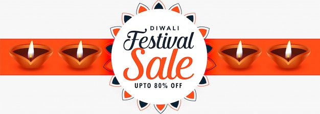 Bannière de vente festival joyeux diwali créative avec diyas