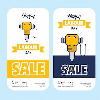 Bannière de vente de fête du travail heureux