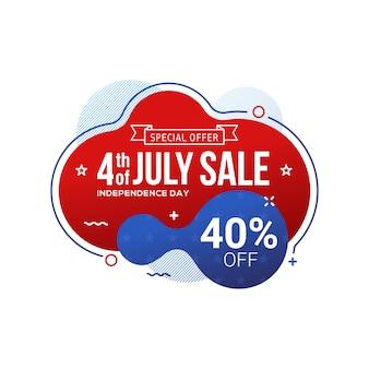 Bannière de la vente de la fête de l'indépendance des états-unis, le 4 juillet