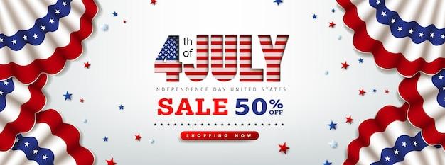 Bannière de vente de la fête de l'indépendance des états-unis avec le drapeau des états-unis. modèle d'affiche du 4 juillet.