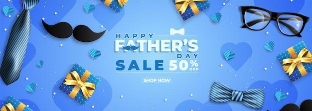 Bannière de vente de fête des pères avec flatlay de lunettes et cadeaux pour papa