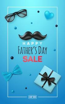Bannière de vente de fête des pères heureux.