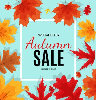Bannière de vente de feuilles d'automne brillant. carte de réduction professionnelle