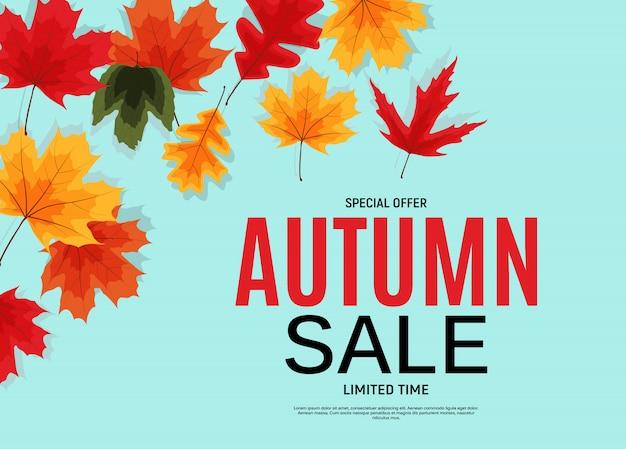 Bannière de vente de feuilles d'automne brillant.