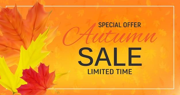 Bannière de vente de feuilles d'automne brillantes. carte de réduction d'entreprise. illustration vectorielle eps10