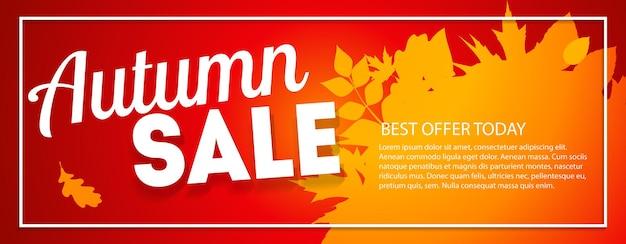 Bannière de vente de feuilles d'automne brillantes. carte de réduction d'entreprise. illustration vectorielle