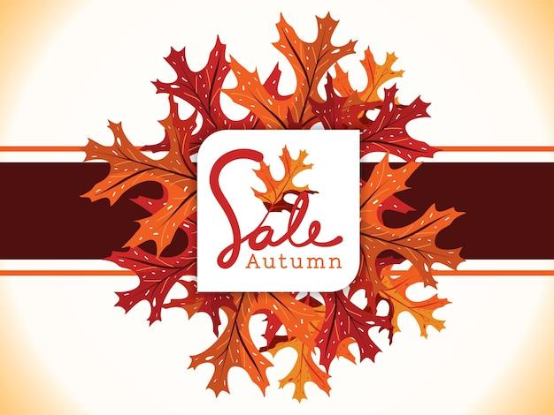 Bannière de vente sur les feuilles d'automne