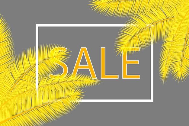 Bannière de vente avec des feuilles de palmier. fond tropical floral. conception de couverture abstraite de couleurs jaunes et grises.