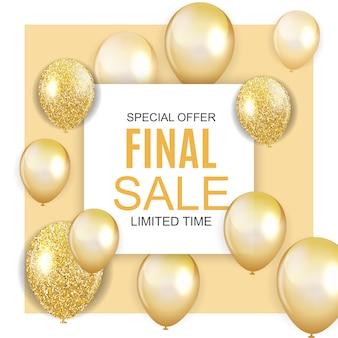 Bannière de vente finale avec des ballons d'or
