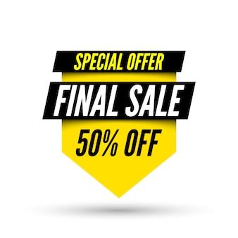Bannière de vente finale offre 50% de réduction.