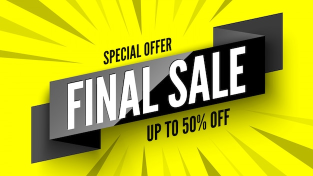 Bannière de vente finale offre spéciale sur fond jaune. illustration.