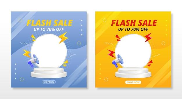 Bannière de vente flash avec conception de modèle de podium