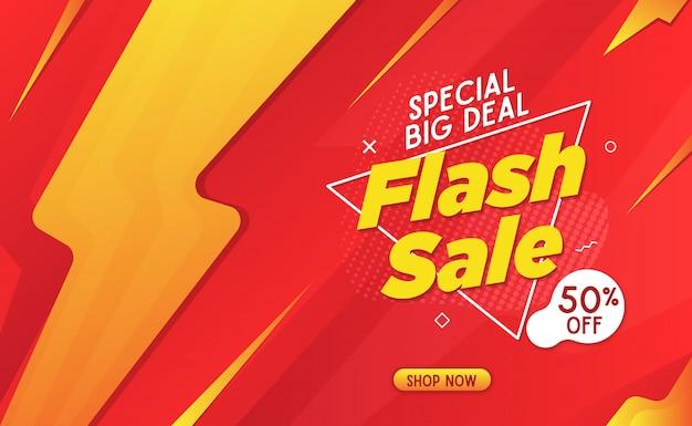 Bannière de vente flash gabarit rouge