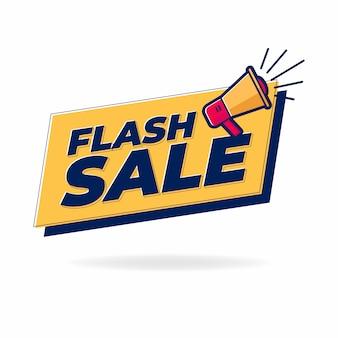 Bannière de vente flash avec haut-parleur ou mégaphone.