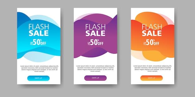 Bannière de vente flash jusqu'à 50% de réduction avec un gradient de forme fluide