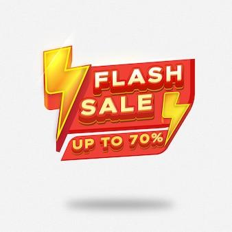 Bannière de vente flash avec modèle de tonnerre