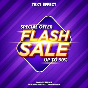 Bannière de vente flash moderne avec effet de texte modifiable
