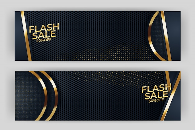 Bannière de vente flash avec prime de style fond or