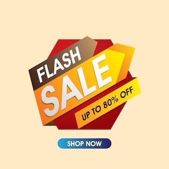 Bannière de vente flash. vecteur vente et remise