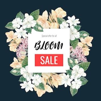 Bannière de vente florale avec cadre