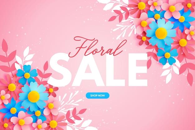 Bannière de vente florale colorée