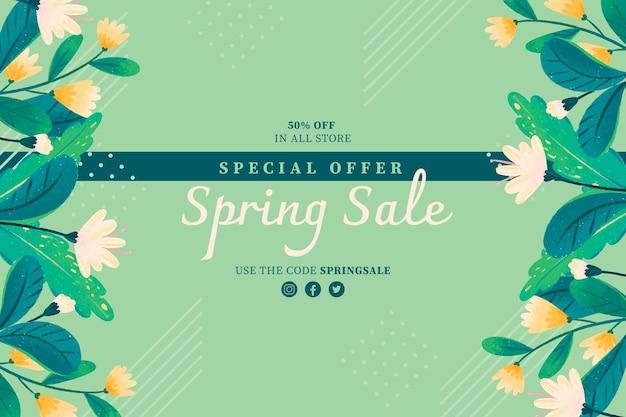 Bannière de vente florale dessinée à la main
