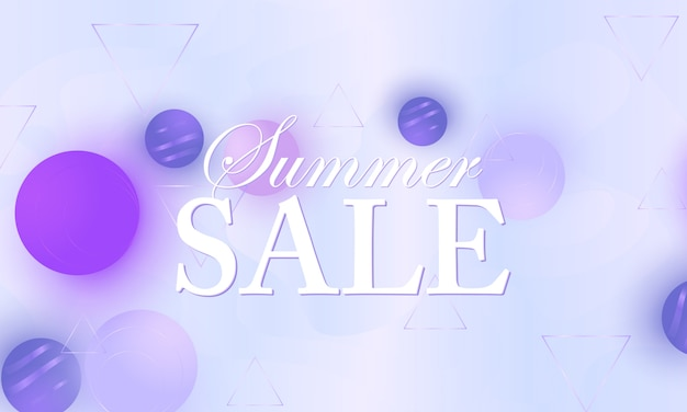 Bannière de vente. fond de couleur. sphères douces violettes. motif fluide.