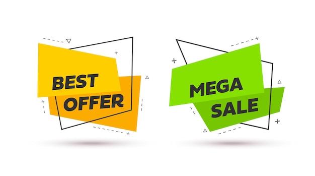 Bannière de vente. formes géométriques abstraites jaunes et vertes. illustration