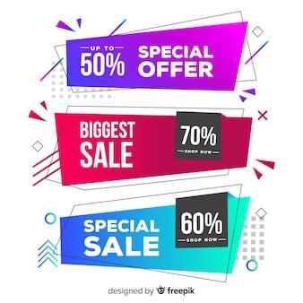 Bannière de vente de formes géométriques colorées