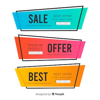 Bannière de vente géométrique colorée