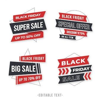 Bannière de vente géométrique moderne et collection black friday