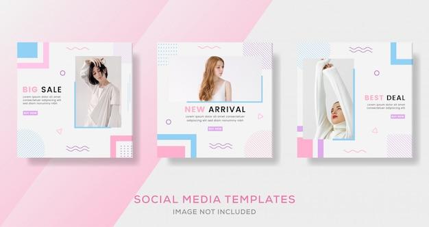 Bannière de vente géométrique pour les médias sociaux.