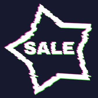 Bannière de vente glitch déformée avec effet d'erreur sur les bords et dans le texte. illustration vectorielle.