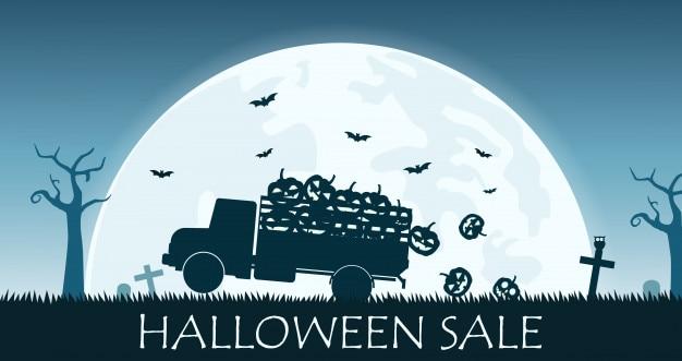 Bannière de vente halloween avec camion porter sourire citrouille