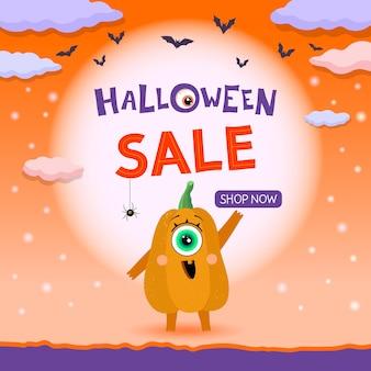 Bannière de vente halloween avec caractère citrouille