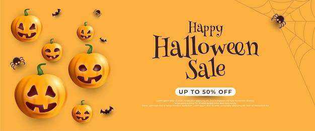Bannière de vente halloween avec chauves-souris et citrouille